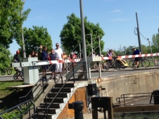 We often drew a crowd to watch us lock through - partly, I think, because it's a funny-looking boat!
