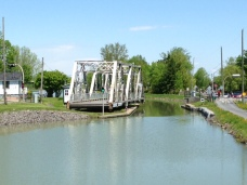 One of several very low swing bridges on the Chambly Canal