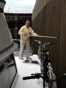 My Dad fending off in the Troy Lock on the Hudson River