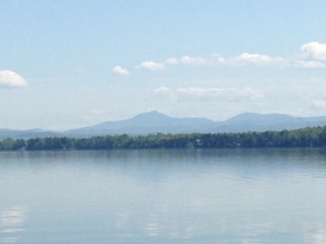 A view from the boat while transiting Lake Champlain