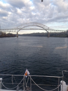 Approaching the Sagamore Bridge on the Cape Cod Canal early on calm morning