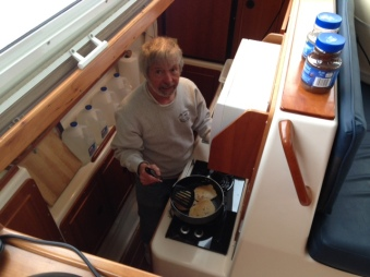 Cooking a gourmet breakfast in the galley - OK, just pancakes, but it felt gourmet to us
