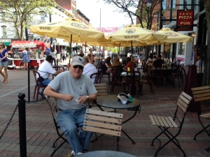 Tom eating ice cream (my favorite activity) in the pedestrian mall