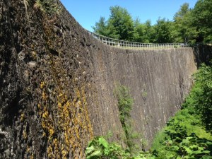The 6 story high dam at Jones Falls, built entirely of enormous stone blocks hauled by oxen one at a time from a quarry 6 miles away