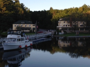 Hotel Kenney overlooking the lower basin at Jones Falls.  The boat on the left is tied to the seawall awaiting passage the next morning through the 4 locks at Jones Falls