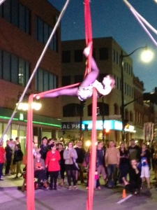 The acrobat at the street celebration Saturday evening