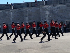 Marching soldiers playing fifes at Fort Henry