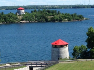 Two of the 4 Martello Towers that still exist in Kingston - this picture is taken from Fort Henry, overlooking the mouth of the St. Lawrence River.  Martello Towers were used to add to the defense of the area because they could be built relatively quickly and cheaply and did not require a large contingency of soldiers to man