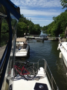 The last of the locks on the Rideau Canal!  Four locks in series lowers us to the level of Lake Ontario, just 5 miles away!