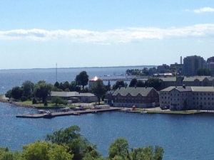 A prominent part of both Kingston's history and its vibrant present is the Royal Military College, often referred to as the War College, seen here from Fort Henry.  It is analogous to America's West Point