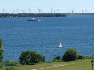 As seen from Kingston, 82 wind turbines have been erected on Wolf Island in the middle of the St. Lawrence river - enough to power 75,000 homes