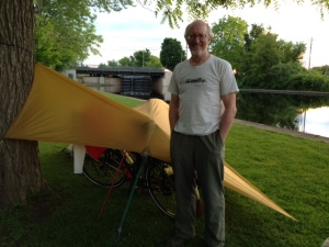 A wonderful system of bike paths parallels much of the Rideau Canal and connects to other bike paths. One of the great experiences of a trip like this is the people one meets.  This is John, a biker doing a week-long trip who was camping in the park area adjacent to the lock in Merricksville.  One can camp at many of the locks, many of which have park areas, picnic tables, and rest rooms