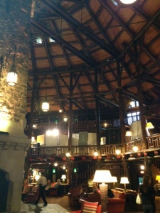 A portion of the lobby of the Le Chateau Montebello