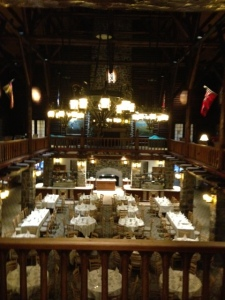 The dining room in the Le Chateau Montebello