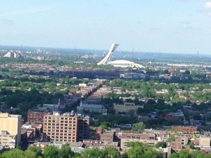 The Olympic Stadium as seen from the top of a hill in Montreal, taken on our bus tour