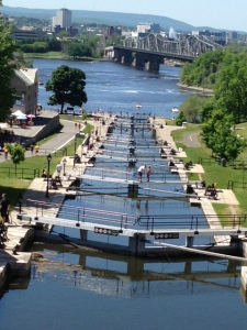 The eight historic flight locks in downtown Ottawa built in 1832 which mark the beginning of the Rideau Canal and our trip south to Lake Ontario