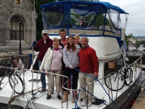 The crew for the trip from Montreal to Ottawa waiting for the last lock to open as we enter Ottawa - from left to right, Tom, Mary M, Ted, Kathleen, Mary R, and Jim K