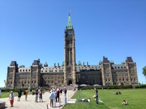 The magnificent Parliament Building high on the hill overlooking the Ottawa River in downtown Ottawa