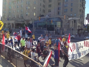 The Canadian capital has protests as well - this is a large march through the city by the Egyptian community objecting to the military rule in Egypt