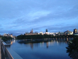 The Ottawa skyline from the Hull, Quebec side of the bridge