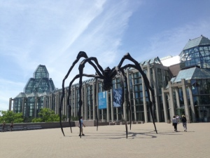 This will freak you out if you are afraid of spiders - a two story high spider in the plaza of the National Gallery of Canada.  The magnificent building is in the background - the building itself is worth the $10 admission.  I'm not an expert in art by any means, but found it extraordinary