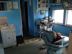 This is the dentists office within the Dentist Car - no anesthesia except laughing gas was used - he must have been a popular guy -