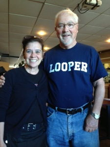 "Tom with his favorite waitress in St. Anne de Bellevue.  Tom had LOOPER shirts made for us - sometimes I think ""LOOPY"" would have been more appropriate...."