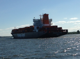 A monstrous ship on the St. Lawrence - we didn't argue who had the right of way...
