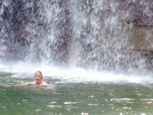 Swimming below the falls - you can actually get directly under the falling water - a weird sensation!