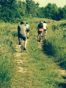 Exploring a dirt road on our three hour bike ride around Bolsover