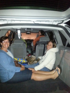 There were only 4 seats in the minivan, so Janet & Trish made do