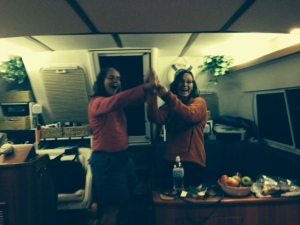 A dance party in the boat after dinner - OK, we had a few glasses of wine....