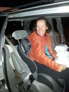 One of the 4 seats had a car seat firmly attached.  No problem for Pat - we're goin' out!