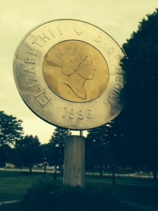 The woman who designed the Canadian $2 coin (affectionately known as the Tooney) was from Campbellford, so they built this enormous monument in the middle of the park