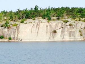 As we approached the end of the Georgian Bay closer to the North Channel (also part of Lake Huron), the rock formations became more vertical and the elevations higher