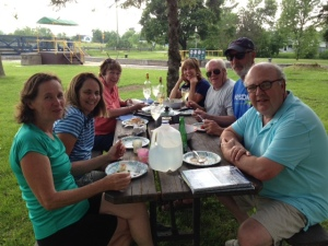 Dinner in the park area adjacent to Lock 7