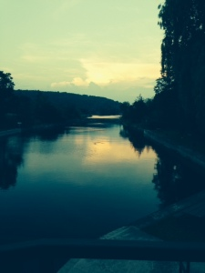 A view off the stern of the boat at dusk at Glen Ross