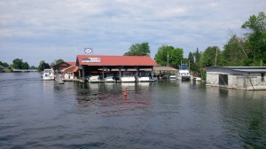 The Joint Adventure tucked in the corner in the marina at Bobcaygeon