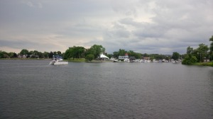 In Peterborough Harbor, approaching the village and the downtown marina