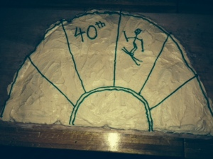 Jenny made a gigantic cake to commemorate the 40th