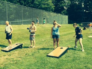 """A new tradition this year was a """"cornhole"""" tournament, complete with brackets, playoffs, and trophies"""