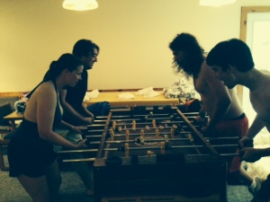 Back at the ski house in the evening, the foosball games become VERY serious!