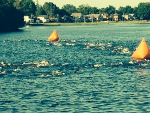 On our way out of Peterborough, we saw what looked like a huge school of fish churning up the water ahead - it turned out to be about 500 swimmers participating in the Peterborough Triathalon at 8:00 AM on Sunday morning - good thing we didn't cast a line...