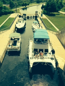 At the top of lock 16, about to enter the second chamber (lock 17) - what a funny looking boat!
