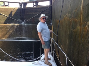 Red doing bow duty in one of the locks