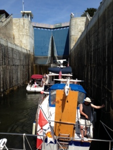 Squeezing into locks 11&12 at Ramsey Falls with three other boats - a combined rise of about 50 feet