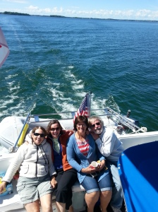 I hope SOMEBODY is driving this boat! From left to right - Trish, Pat, Janet, Jim