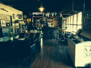 The cozy inside bar/dining area at the Waubic.