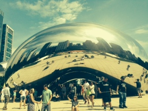 "The famous Chicago ""bean"", built of reflective steel"