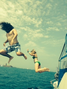 Danny & Leah practicing their dives for the Olympics - I think his head is somewhere under that hair....